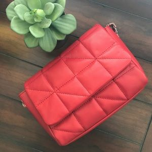 Asos red leather quilted crossbody